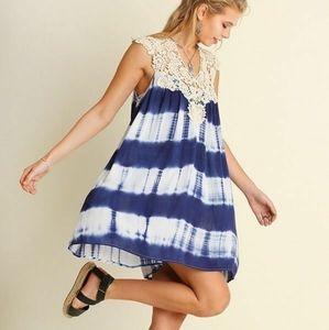 Umgee Crochet Tie Dye Tunic Dress S